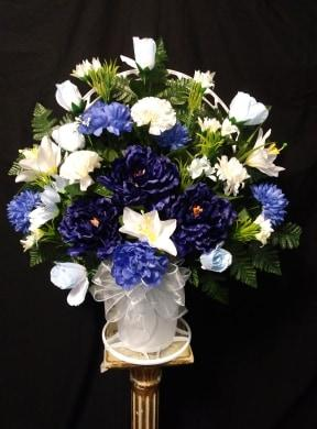 sympathy, silk, blue, white, carnations, roses, bow Floyd, VA Florist, Floyd Florists, Florists in Floyd VA, Floyd Florists - Floyd VA Flowers Delivery,