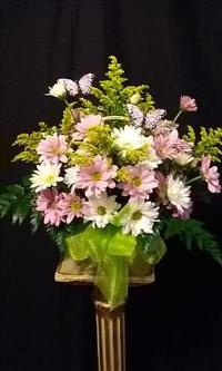 Assorted Daisy Basket with Butterflies Floyd, VA Florist, Floyd Florists, Florists in Floyd VA, Floyd Florists - Floyd VA Flowers Delivery,