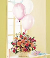 Birthday Basket with Balloons Floyd, VA Florist, Floyd Florists, Florists in Floyd VA, Floyd Florists - Floyd VA Flowers Delivery,