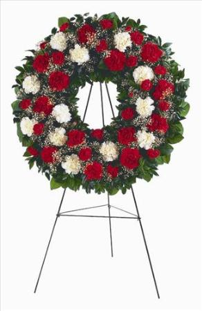 Red & White Carnation Wreath Floyd, VA Florist, Floyd Florists, Florists in Floyd VA, Floyd Florists - Floyd VA Flowers Delivery,