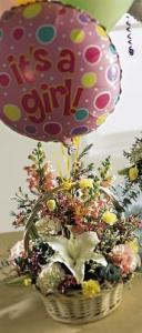 Baby Girl Bouquet with Balloons Floyd, VA Florist, Floyd Florists, Florists in Floyd VA, Floyd Florists - Floyd VA Flowers Delivery,